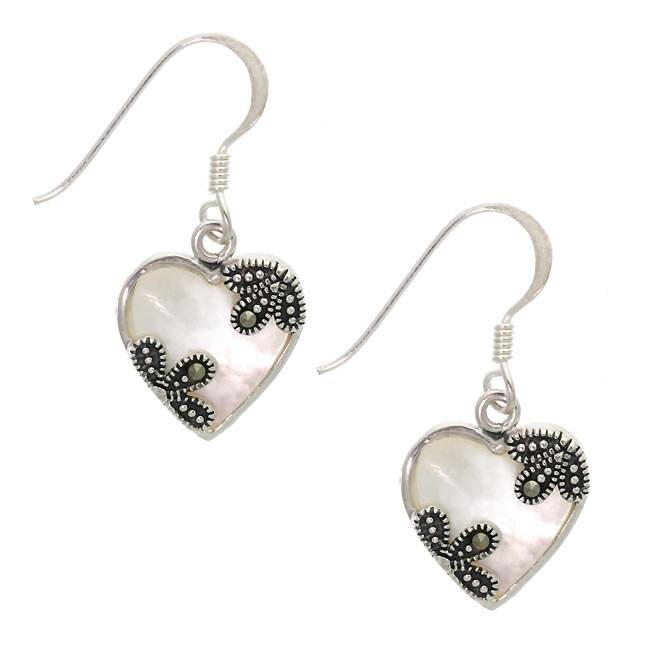 Glitzy Rocks Silver Marcasite Mother of Pearl Heart Earrings