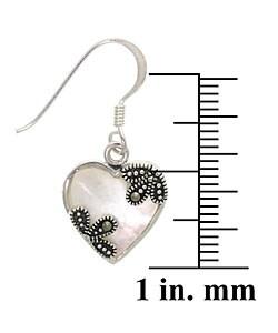 Glitzy Rocks Silver Marcasite Mother of Pearl Heart Earrings - Thumbnail 2