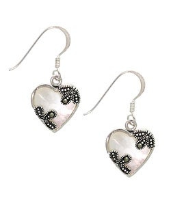Glitzy Rocks Silver Marcasite Mother of Pearl Heart Earrings
