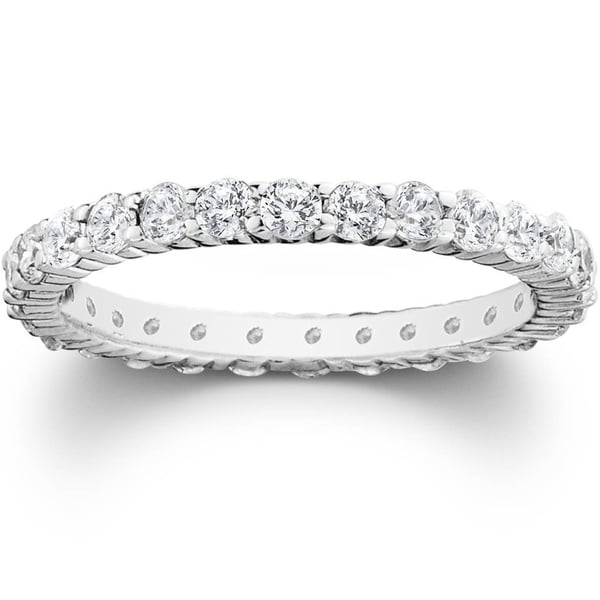 Pompeii3 Platinum 1 ct TDW Diamond Eternity Ring Womens Wedding Anniversary Stackable Engagement Band. Opens flyout.