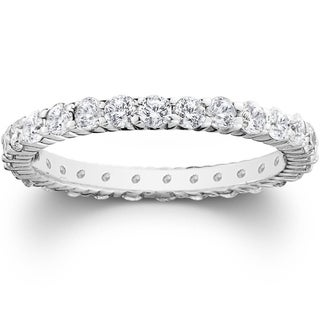 Bliss Platinum 1 ct TDW Diamond Eternity Ring Womens Wedding Anniversary Stackable Engagement Band