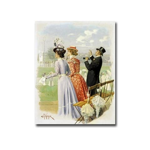 At the Races by Carl Kuechler Gallery Wrapped Canvas Giclee Art (30 in x 24 in, Ready to Hang)