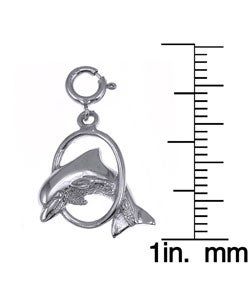 14k White Gold Dolphin in Hoop Charm