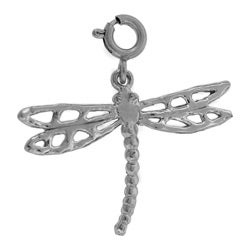 14k White Gold Dragonfly Charm
