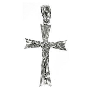 14k White Gold Crucifix Charm