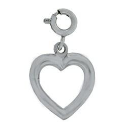 14k White Gold Open Heart Charm