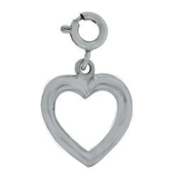 14k White Gold Open Heart Charm