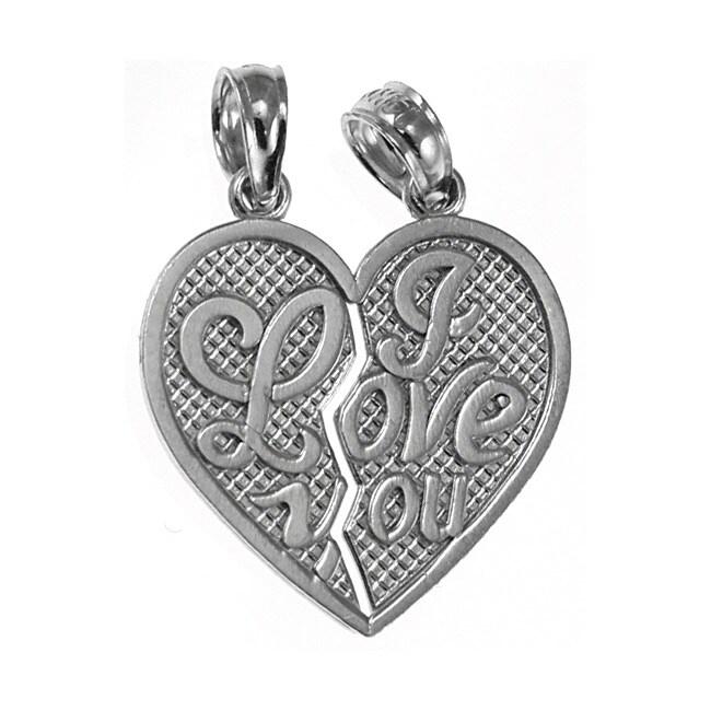 14k White Gold Breakable Heart Charm