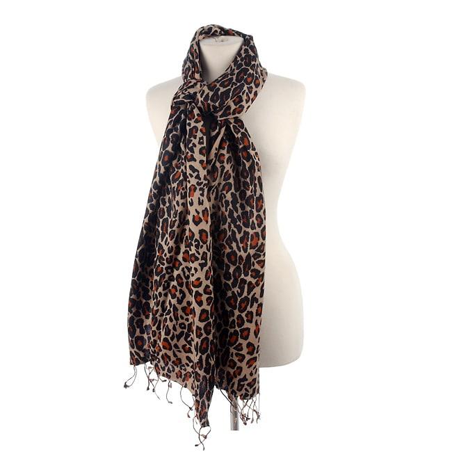 Leopard Print Pashmina/Silk Shawl