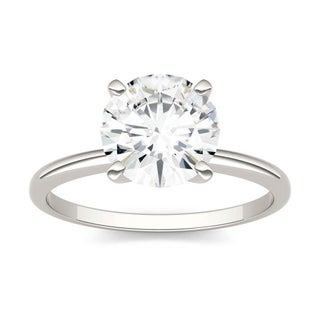 Moissanite by Charles & Colvard 14k White Gold 1.90 DEW Round Solitaire Engagement Ring
