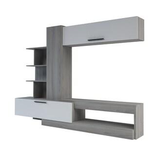 Zoom TV Two-Tone Grey Oak Woodgrain/White Lacquered Wood and Steel 5-Shelf Wall Unit