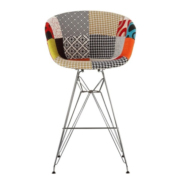Danish Modern Upholstered Counter Stool with Metal Eiffel Legs