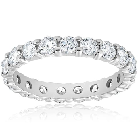 Pompeii3 Platinum 2 ct TDW Diamond Eternity Ring Womens Wedding Anniversary Stackable Engagement Band