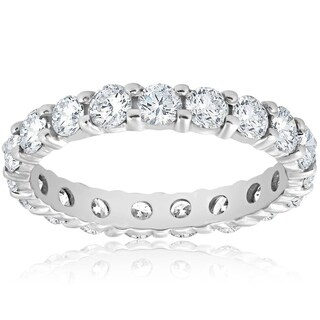 Bliss Platinum 2 ct TDW Diamond Eternity Ring Womens Wedding Anniversary Stackable Engagement Band