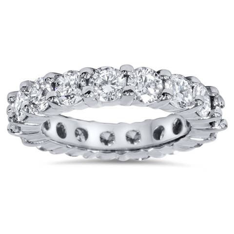 Pompeii3 Platinum 4 ct TDW Diamond Eternity Ring Womens Wedding Anniversary Stackable Engagement Band