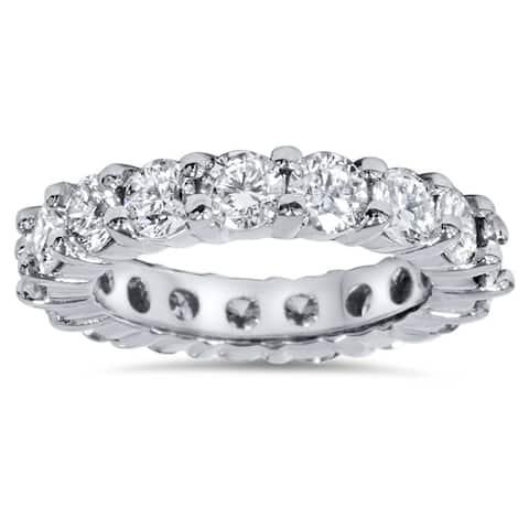Pompeii3 Platinum 4 ct TDW Diamond Eternity Ring Womens Wedding Anniversary Stackable Engagement Band