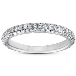 Bliss 18k White Gold .67 c TDW Mircopave Diamond Wedding Ring (F-VS)