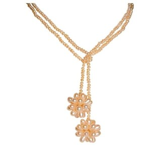 Wrap Around Rice Pearl Open Style Necklace with 3D Snowflake
