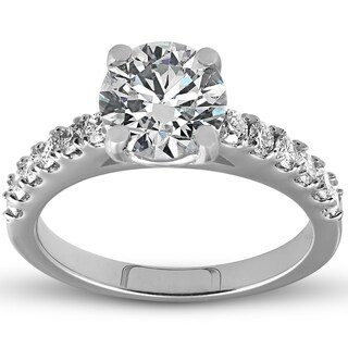 Bliss 14k White Gold 2.10 ct TDW Diamond Round Solitaire Engagement Ring Clarity Enhanced (G-H,SI1-SI2)