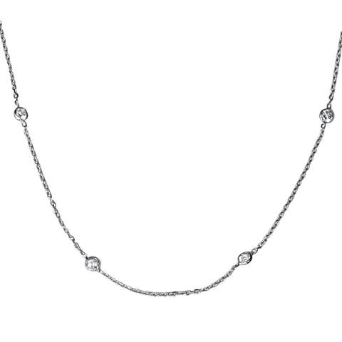 """Pompeii3 14k White Gold 1 ct TDW Bezels By The Yard Womens 18"""" Diamond Station Necklace"""