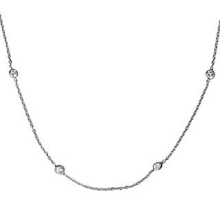 """Bliss 14k White Gold 1 ct TDW Bezels By The Yard Womens 18"""" Diamond Station Necklace"""