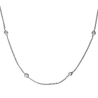 """Bliss 14k White Gold 2 ct TDW Bezels By The Yard Womens 18"""" Diamond Station Necklace"""