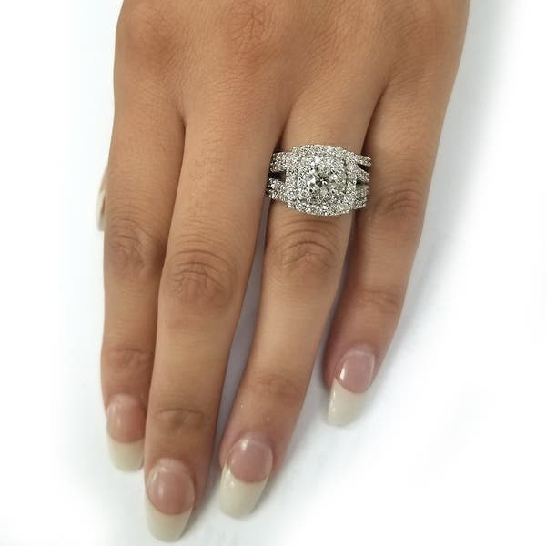 Shop 10k White Gold 3ct Tdw Cushion Halo Diamond Engagement Ring Set On Sale Overstock 25410739