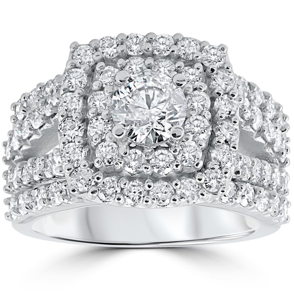 Shop 10k White Gold 3 Ct Tdw Cushion Halo Round Diamond