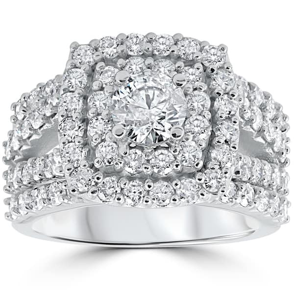 10k White Gold 3ct Tdw Cushion Halo Diamond Engagement Ring Set On Sale Overstock 25410739