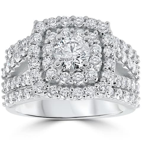 10k White Gold 3ct TDW Cushion Halo Diamond Engagement Ring Set