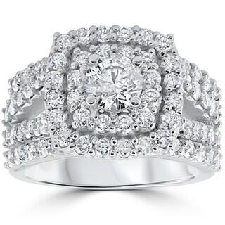 Pompeii3 10k White Gold 3 ct TDW Cushion Halo Round Diamond Engagement Trio Wedding Ring Set