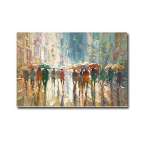 Downtown Rain by Eric Jarvis Gallery Wrapped Canvas Giclee Art (24 in x 36 in, Ready to Hang)