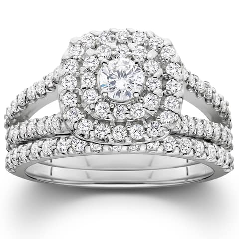 Pompeii3 Platinum 1 1/10 ct TDW Diamond Cushion Halo Engagement Wedding Ring Set