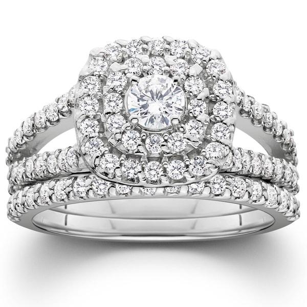 Pompeii3 Platinum 1 1/10 ct TDW Diamond Cushion Halo Engagement Wedding Ring Set. Opens flyout.