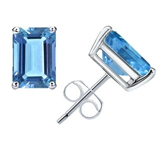 1.40 Cts Blue Topaz Sterling Silver Stud Earrings By Orchid Jewelry