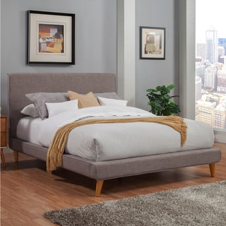 Link to Porch & Den Hindon Dark Grey Upholstered Platform Bed Similar Items in Bedroom Furniture