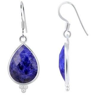 Essence Jewelry Sterling Silver 14ct. Sodalite Gemstone Dangle Hook Earrings