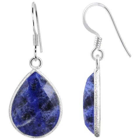 14.3 Carat Blue Sodalite Gemstone 925 Sterling Silver Dangle Earrings