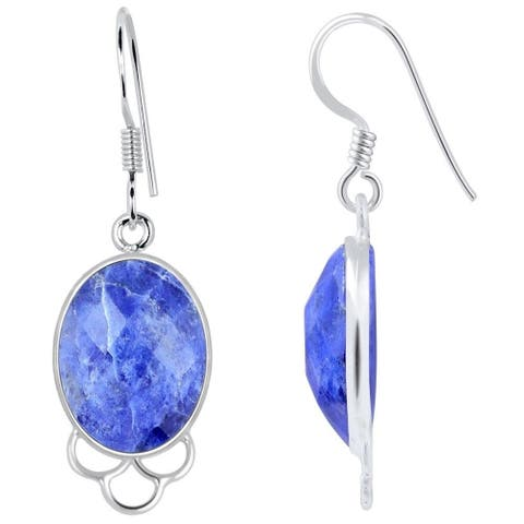 925 Sterling Silver 12.4ct Genuine Sodalite Oval Shape Dangle Earrings
