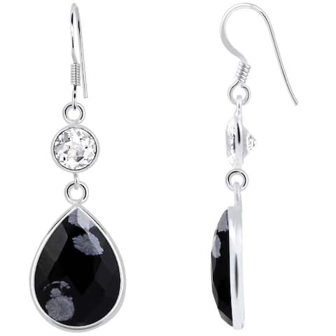 Snowflake Obsidian Sterling Silver Pear Dangle Earrings By Orchid Jewelry