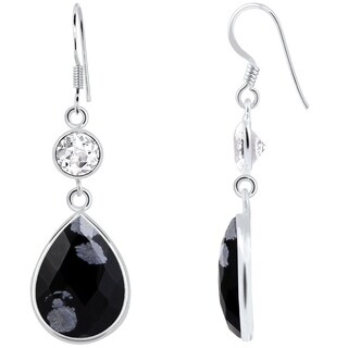 Essence Jewelry Sterling Silver 16.50ct. Genuine Snowflake Obsidian and White Topaz Drop Earring