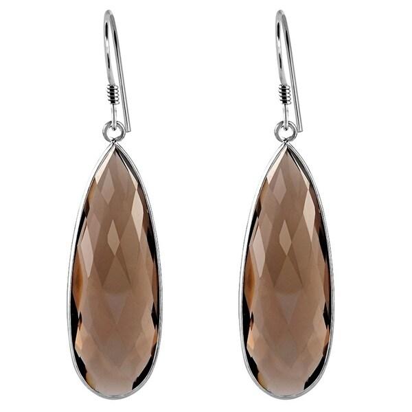 577e312be8329a 33.0 Carat Smoky Quartz Long Pear 925 Sterling Silver Dangle Earrings by  Essence Jewelry