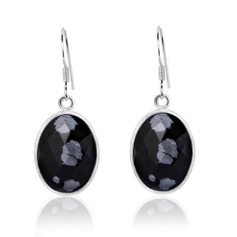 Essence Jewelry Sterling Silver 12.5 Ctw Genuine Snowflake Obsidian Dangle Earrings For Ladies