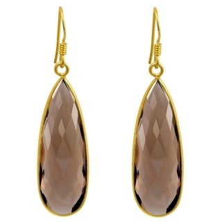 Essence Jewelry Gold Overlay Sterling Silver 33 Ct. Genuine Smoky Quartz Dangle Earrings
