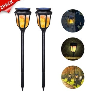 Solar Flame Lights 96 LED Waterproof Lamp for Pathways Lawn Yard Patio 2 Pack