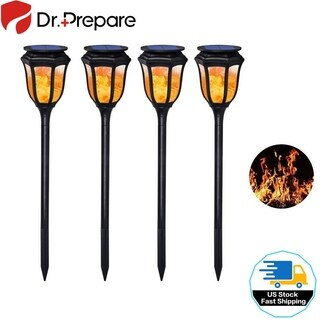 Solar Flame Lights 96 LED Waterproof Lamp for Pathways Garden Yard Patio 4 Pack
