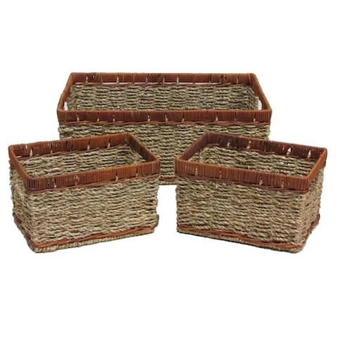 3 Pcs Two Toned Stained Natural Rope Tray w/ Inside Handles