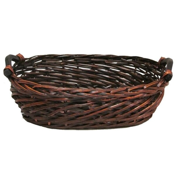 Split Woody Willow Oval Shape Tray w/wood Ear Handles
