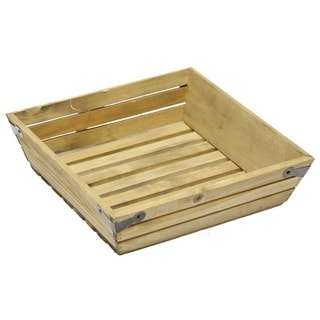 Natural wood small shallow square crate with metal corner design