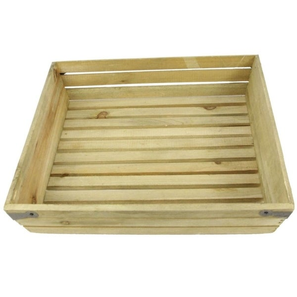 Natural wood large shallow square crate with metal corner design